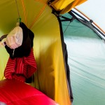 Drying gear in the tent (Hilleberg Soulo)