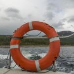 Boat across lake Ribnes