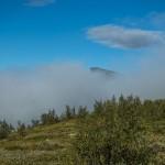 Skierfe shrouded in morning fog